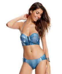 Denim print bustier top bikini - ISTAMBUL
