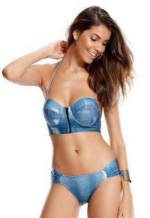 Bikini effetto blu jeans, con bustino - ISTAMBUL