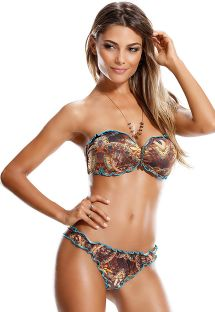 Scrunch and bandeau bikini with wavy blue edging - JOIA PERSIA