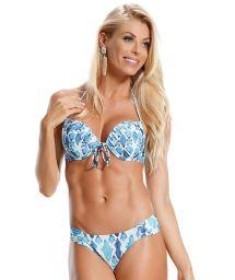 Blue/white printed underwire push-up bikini - LADRILHOS AZUIS