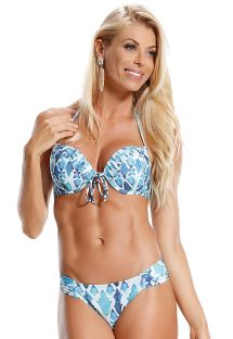 Blue/white printed underwire push-up bikini - LADRILHOS AZUIS