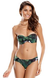 Green tropical print bandeau top bikini - LISBOA