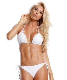 Accessorized white lace triangle bikini- METAL BRANCO