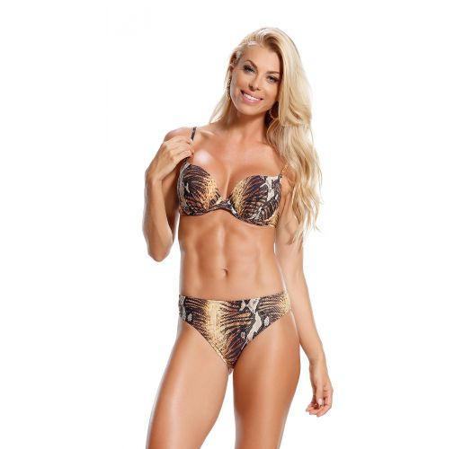 Underwired balconette bikini in snake skin print - OURO MARROM