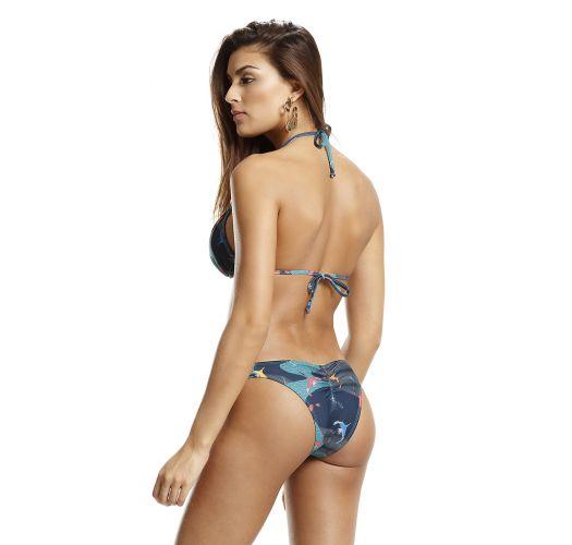 Bikini de top triangular almofadado plissado c/ padrão azul - PARADISE PASSAROS QUE VOAM