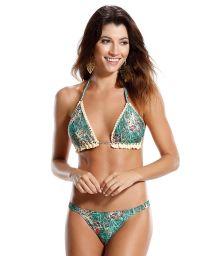 Print/crochet reversible triangle bikini- PRAIA DE PIPA