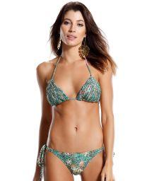 Green printed triangle bikini withstrappy detail - PRAIA DO FORTE