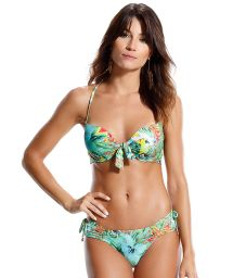 Tropical push-up bikini with crossed laced back - RELVA