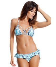 Blue/white print ruffled Brazilian bikini - REMO PEIXES