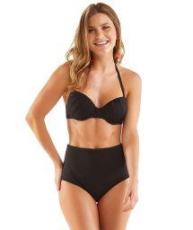 Bikini taille haute et balconnet plissé noir - RETRO CHARMOSA PRETO LISO