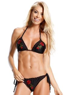 Black triangle bikini with embroidered red flowers - ROSA VERMELHA