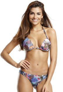 Sea printed triangle padded bikini - SHELLS AQUATICA