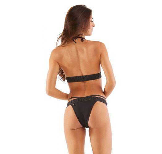 Black strappy Brazilian bikini with sequined edges - STRAPPY PRETO LISO