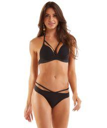 Bikini brassière noire strappy contours pailletés - STRAPPY PRETO LISO