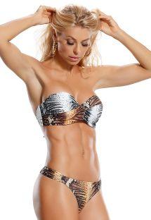 String bikini och vadderad bandeau övredel med djurtryck - TIGRESA