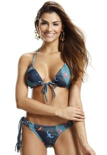 Triangle bikini in bird print and macramé on the back - WILD PASSAROS QUE VOAM