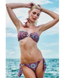 Printed bandeau bikini, side ties - ARATUBA