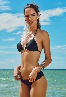 בגד ים בסגנון חוטיני צבע שחור עם רצועות צד רחבות - AREIA PRETA