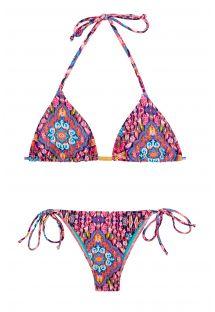 Bikini brasileño estampado rosa que se puede atar - AREIA ROSA