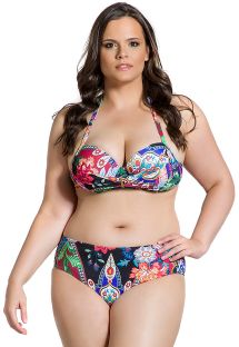 Large cup colorful plus size bikini - BELLA JARDIM ESCURO PLUS
