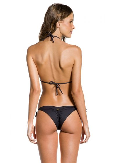 Svart sidoknytbar, rynkad bikini med vågiga kanter - BOA NOITE ESCURA