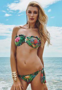 Bandeau bikini med flæser i tropisk stil - COSTA VERDE