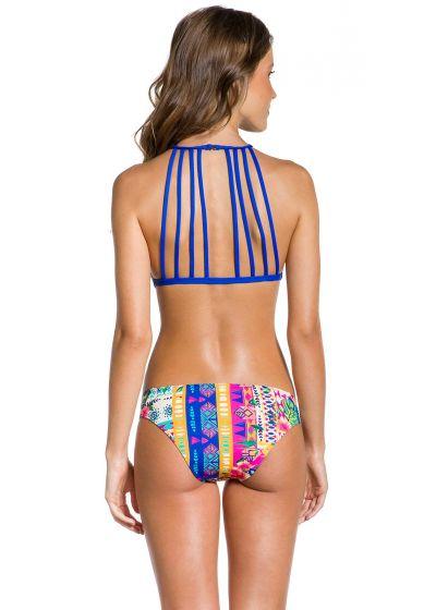 Färggrann, etnisk crop topp bikini med band - CROPPED ETNICO