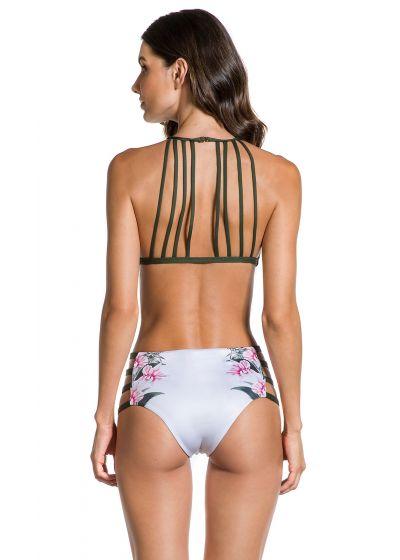 Bikini med hög mijda, khaki-färgade sidoränder - CROPPED FLOR DE KAKI