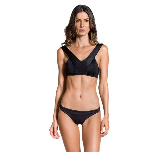 Texturiertes Crop-Top und Mikro-Bikinihose - CROPPED NOITE ESCURA