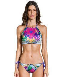 Printed scrunch Brazilian bikini with  crop top and wavy edges - CROPPED VISÃO