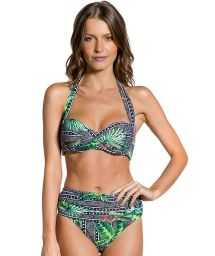 Bikini taille haute mix géométrique/tropical - DUNAS MAR