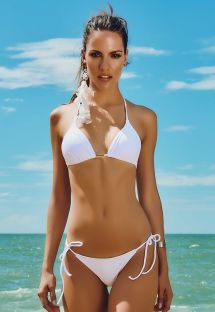 Solid white thong swimsuit - FAROL