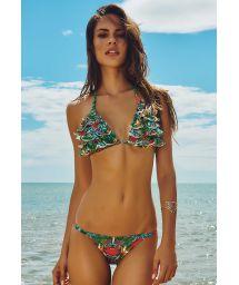 Floral Brazilian bikini, ruffle top - FAROL DA BARRA