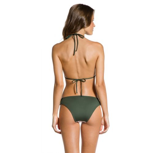 Floral & khaki Brazilian bikini with sliding triangle top - FIXO FLOR DE KAKI
