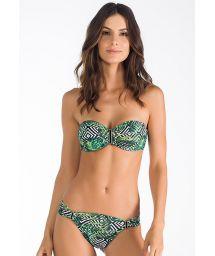 Tropical/graphic printed bandeau bikini - FLORESTA TROPICAL