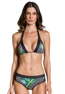 Geometric & tropical bikini with black edges - FRONTEIRAS SUTIL ELEGANCIA