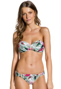 Floral print scrunch fixed bikini with bandeau top - LAÇO FLORZINHOS