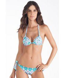 Brazilian bikini with side tie, tie-dye print - OASIS AZUL