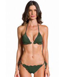 Bikini brésilien scrunch ondulé vert militaire - ONDA KAKI