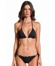 Bikini brésilien scrunch ondulé noir - ONDA PRETO