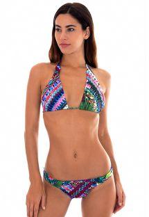 Mångfärgad trekants- bikini med band - ONEGA