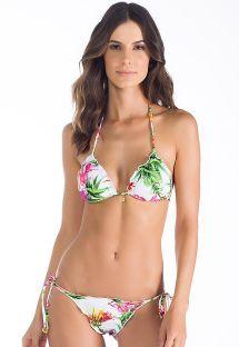 White floral Brazilian scrunch bikini - PETALAS ROSADAS