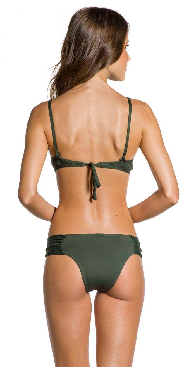 Pleated larger-side Brazilian bikini with underwire in khaki - PLEATED KAKI