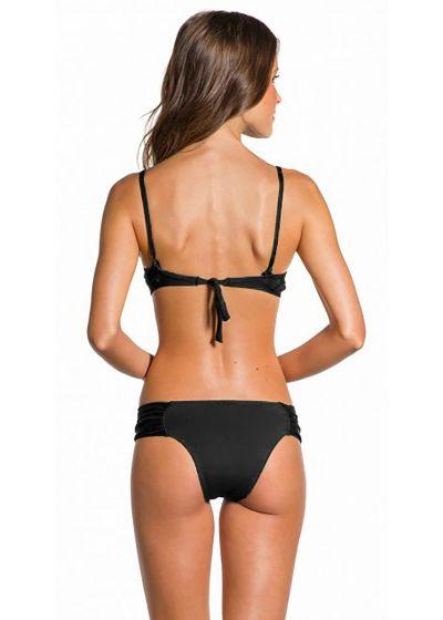Black underwired balconette bikini with black bow - PLEATED PRETO