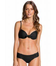 Bikini balconnet armatures avec nœud noir - PLEATED PRETO
