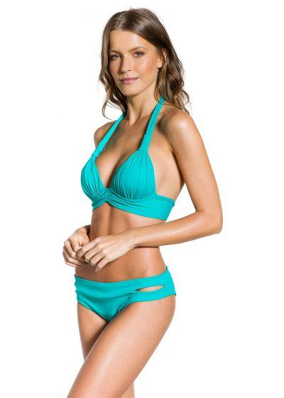 Turquoise padded halter bikini with cutouts - PLISSADO TURQUOISE