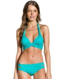 Turquoise padded halter bikini with cutouts - PLISSADO TURQUOISE