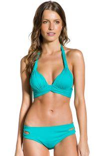 Turkisfarvet polstret halter bikini med udskæringer - PLISSADO TURQUOISE