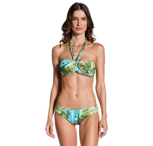 Tropical bandeau bikini with neck strap - PRAIA DAS PALMEIRAS
