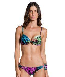 Sidoknytbar bikini med balconette övredel och korallfärgat tryck - PRAIA DO PEIXE